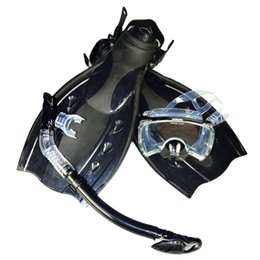 Wholesale Snorkel Free Shipping - Wholesale-Free shipping High quality dive equipment black double lens Diving Mask+dry Snorkel +Duck Flippers MSF2723201
