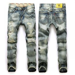 Wholesale Vintage Coat Xs - Wholesale-New Fashion Men`s Distressed Jeans With Holes Acid Washed Vintage Casual Denim Pants Ripped Jeans For Men