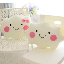 Wholesale Bow Cushions - 35CM Kawaii Soft Smiley Face Bow Cloud Pillow Cotton Stuffed Cushion Plush Toy