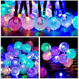 Wholesale Solar Powered Xmas Lights - 30 LED Solar Powered Crystal Ball LED Outdoor String Light Lamp For Xmas Wedding Party OOA3151