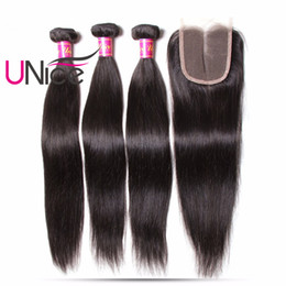 Wholesale 4x4 Swiss Lace Closure - UNice Hair Peruvian Straight Human Hair Bundles With Closure Middle Part 4PCS Hair Extensions 4x4 Lace Closure Swiss Lace Remy Weaves Bundle