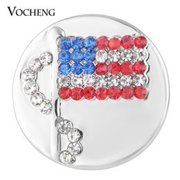 Wholesale Crystal Flag - VOCHENG NOOSA Sugar Ginger Snap Charms USA Waving Flag with Crystal 18mm Button Jewelry Vn-1743