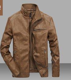 Wholesale Jacket Leather Man Pilot - 2017 Men Solid Casual Moto Biker Leather Jackets Man Bomber Jacket Male Outwear Coat Autumn Pilot Jacket Mans Cool Jacket XT451
