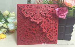 Wholesale Elegant Purple Invitations - Elegant Laser Cut Hollow Flower Wedding Invitations Cards 2016 High Quality personalized Bridal Invitation Card Cheap DHL free shipping