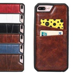 Wholesale Iphone Case Hybrid Vintage - For iPhone 7 Plus Vintage Retro PU Leather Case Card Slots Hybrid Silicone Phone Back Cover for iPhone7 7Plus
