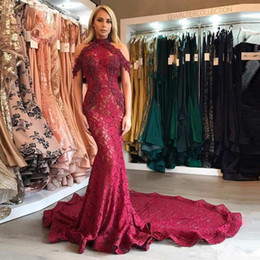 Wholesale Sexy Short Fuschia Pink Dress - 2017 Sexy Fuschia Halter Lace Mermaid Evening Dresses Vintage Lace Appliques Formal Party Dress Customize Plum Lace Prom Gowns