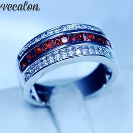 Wholesale garnet wedding rings - Vecalon Jewelry Red Garnet Cz Party Wedding Band Rings for Men 10KT White Gold Filled male Engagement Band ring