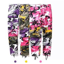 Wholesale Women Pink Camo Pants - 2018 NEW best version Men women Pink purple camouflage Stitching ribbon pants hiphop Fashion Casual camo cargo pants 3color M-XL