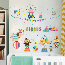 Wholesale Pig Wall Decals - cartoon diy circus children wall stickers for kids rooms boys girls bedroom home decoration elephant pig mouse decals