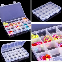 Wholesale transparent plastic candy boxes - New household supplies 24 lattice Storage box Transparent plastic Jewelry box sundries accessories finishing box IA836