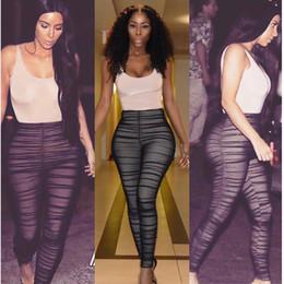 2019 macacão de bambu Atacado Kim Kardashian Malha Jumpsuit Mulheres Sexy Ruched Malha Fios Emenda Macacão Preto Romper Drapeado Detalhe Clubwear Stretchy Bodysuit