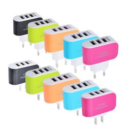 Wholesale Mobile Led Head - 3 USB jack candy color charger LED light mobile phone charger smart multi-port USB travel charge head