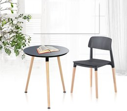 Wholesale Modern Wood Dining Chairs - coffee chair school stool PP seat wood leg furniture market exhibition chair retail wholesale garden villa stool Waiting room chair dealer