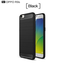 Wholesale Oppo Cases - oppo r9s phone protective hard case cover soft tpu PC silicone with carbon fiber brushed metal wiredrawing shockproof cellphone case