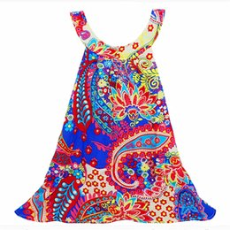 Wholesale Cheap Kids Clothing Brands - Cheap clothes girl beach suspender dress Baby Kids Clothing Summer Girl's Dresses Cotton clothes girls skirt Bohemian harness dress 880