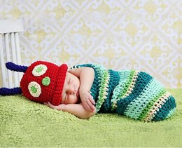 Wholesale Infant Knitted Costumes - Cartoon Design Crochet and Cocoon Set Infant Newborn Baby Girl Photo Photography Props Handmade Knit Costume