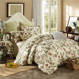 Wholesale Egyptian Cotton Sets - Wholesale-Noble bedding set 4pcs 100% egyptian cotton duvet quilt covers bed sheet comforters bedclothes coverlet bedcover king queen size