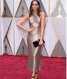 Wholesale Light Yellow Tea Length Halter - 2017 Oscar Gold Evening Dresses with Halter Neckline Tea-Length Sleeveless Simple Elegant Celebrity Gowns Vestido De