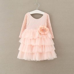 Wholesale Tulle Flowers Clips - 2017 Autumn Girls Princess Dresses Flower Pin Clip Long Sleeve Beach Wedding Party Dresses Tiered Tulle Dress 2-7Y E13836