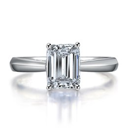 Wholesale Gold Emerald Cut Ring - 1CT Emerald Cut Synthetic Diamond Wedding Aniversary Ring Amazing Quality Genuine Solid Sterling Silver Ring White Gold Finish