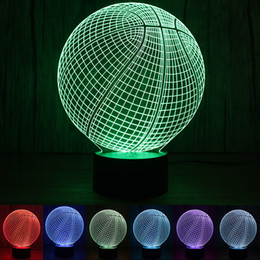 Wholesale Motion Basketball - 3D Desk Lamp Basketball Round Shape Gift Acrylic Night light LED lighting Furniture Decorative colorful 7 color change household Home