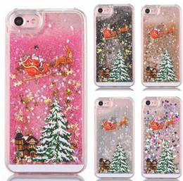 Wholesale Iphone 5s Christmas - Santa Claus Christmas Tree Liquid Flow Sand Sequins Hard Plastic Phone Cases Quick sand Cover For iPhone 5 5S SE 5C 6 6S 7 6 6S 7Plus
