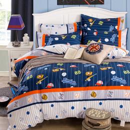 Wholesale Quilt Duvet Kids - Wholesale- Cotton Kids Bedding set,Cartoon Baseball Duvet cover set Child Boys,Comfort NO PILLING,Contain 1 Quilt cover 2 Pillowcase#DP1509