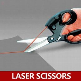 Wholesale Wholesale Cut Sew - Wholesale- High Quality Straight Fast Laser Guided Scissors Sewing Laser Scissors Cuts Household Scissors with Battery