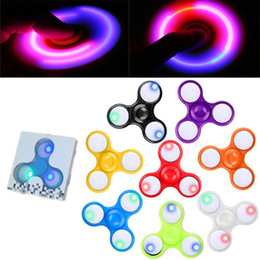Wholesale Light Up Spin Top - 2017 LED Light Up Hand Spinners Fidget Spinner Top Quality Triangle Finger Spinning Top Colorful Decompression Fingers Tip Tops Toys OTH384