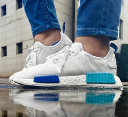 "Wholesale Cheap Branded Snow Boots - 2017 Wholesale Discount Cheap NMD R1 W ""Blue Glow"" Shoes Mens Women's Athletic Running sneaker Shoes Running Shoe Brand Boost With Box"