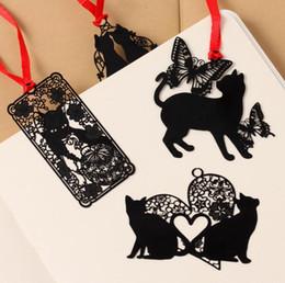 Wholesale Metal Cat Bookmark Wholesale - Cute Hollow-Out Black Cat Bookmark Metal Bookmark Promotional Gift Stationery Film Bookmark