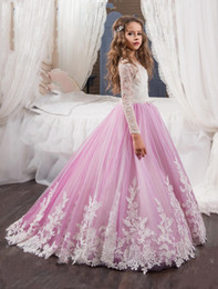 Wholesale Lilac Child Dress - 2017 New Flower Girls Dresses For Weddings Jewel Neck White Lace Appliques Lilac Sweep Train Birthday Children Communion Girl Pageant Gowns