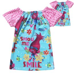 Wholesale Girls Puff Sleeve Shirt - Puff sleeve baby girls Trolls poppy T-shirt cartoon children summer clothing girl's cute lovely full print T shirt top tees blouse shirts