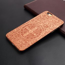 Wholesale Skull Phone Iphone Cases - Hot!! Skull Genuine Real Natural Bamboo Wood Wooden Phone Case cover Wood Slice with hard plastic back cover for iphone 6 6s 6plus