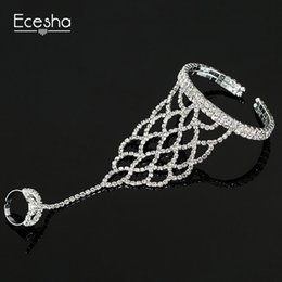 Wholesale Crystal Mesh Bracelet - Ecesha Trendy Net Mesh Hand Chain Bracelet Hand Harness Crystal Slave Bracelets Women Bridal Jewelry Open Cuff Bangle With Rings