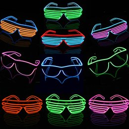 Wholesale Glowing Party Glasses - 2 Types LED glasses fashion flashing LED light glasses EL wire Light Up Glow Sunglasses Eyewear DJ Nightclub Halloween Christmas Party