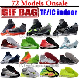 Wholesale Cr7 White Indoor Shoes - 2017 Original Men Soccer Cleats Magista Obra II IC TF Turf Indoor Soccer Shoes Mercurial Superfly V CR7 ACC Indoor Football Boots Ronaldo