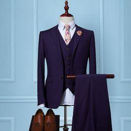 Wholesale Leisure Slim Plaid Suit - Slim Fit Suits Men Notch Lapel Business Wedding Groom Leisure Tuxedo 2017 Latest Coat Pant Designs S-4XL