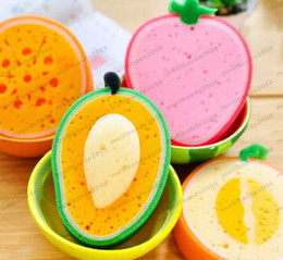 Wholesale Microfiber Sponge Cloth - Cute Fruit Shape Microfiber Sponge Scouring Pad Cleaning Cloth Strong Remove Stains Thickened Sponge Kitchen Tools MYY