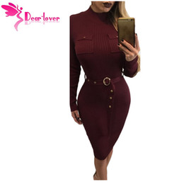 Wholesale Winter Work Dresses For Women - Casual dress for Woman Work Wear 2017 Burgundy High Neck Rib Knitted Midi Dress with Belt Vestido de Invierno LC61397 17410