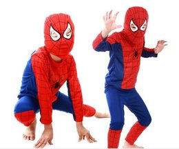 Wholesale Men S Clothes Wholesale Prices - Lowest Price Wholesale Kids Red Spider-man Clothes Halloween Cosplay Costumes Tights Children Superhero Spider-Man Performance Set