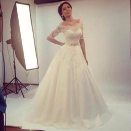 Wholesale Gold Wedding Dress Belts - Lace Half Sleeve Wedding Dresses Off Shoulder Beads Belt A Line Sweep Train New CharmingBridal Gowns Custom Size