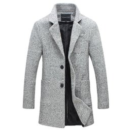 Wholesale Standing Collar Peacoat - Wholesale- 2016 New Fashion Brand Clothes Trend Jacket Wool Coat Men Trench Single Breasted Peacoat Stand Collar Casual Men Woolen Coat 5XL