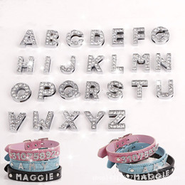 Wholesale Slider Dog Charms - 26pcs A-Z White Letters Numbers 10mm Clear Rhinestone Letters Dog Pet Cat Name Personalized Number DIY Slider Pet Supply & Decoration
