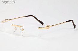 2019 occhiali da spiaggia riflettenti Occhiali da sole senza montatura per uomo 2019 Donne Occhiali da sole senza montatura in lega cava unici personalità Occhiali da sole oversize da designer