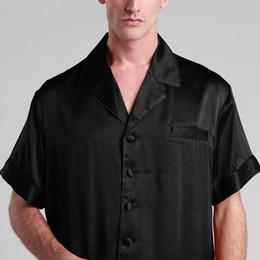 Wholesale Boxer Pajamas - Pure Silk Pajamas Men Sleepwear Short Set Shirt With Boxer Pijama Yukata Designer Masculino Lounge Wear 22 mm Sexy Suit