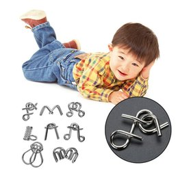 Wholesale Montessori Materials Wholesale - 8PCS Set Metal Wire Puzzle IQ Mind Brain Teaser Puzzles Game for Adults Children Kids Montessori Materials