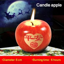 Wholesale Candle Making Free Shipping - Candle apple Christmas Red Apple Shape candle making candle light smokeless Christmas Candles Gift Decoration Wedding Holiday free shipping