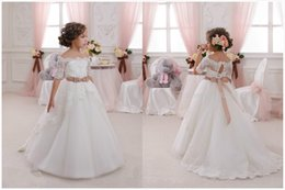 Wholesale Short Sleeve Christmas Dress - 2016 New Hot White Ivory Lace Flower Girls Dresses With Belt Floor Length Girls First Communion Dress Princess Dress Ball Gown