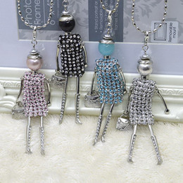 Wholesale Doll Necklaces - Promotion Sales !!! New Fashion French Kids stones doll Pendant Necklace Jewelry women long necklace wholesales free shipping